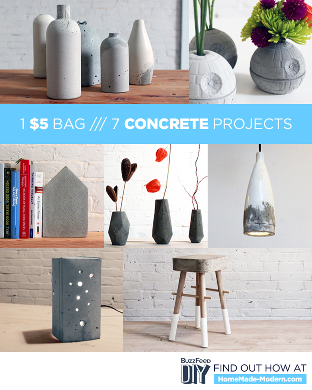7 diy concrete projects you can make with one 5 bag of for Small concrete projects