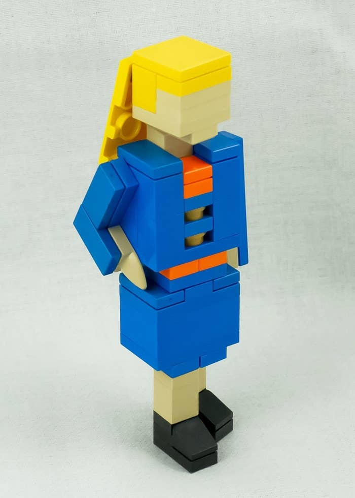So, instead of writing out the normal guff about dedication, passion and being both a great team leader and a strong team player, she only went and designed herself as mini lego model in an interview suit.