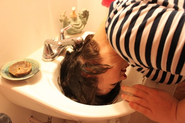 """If you have especially thick hair that takes forever to dry, try """"half-washing it"""" in the sink."""