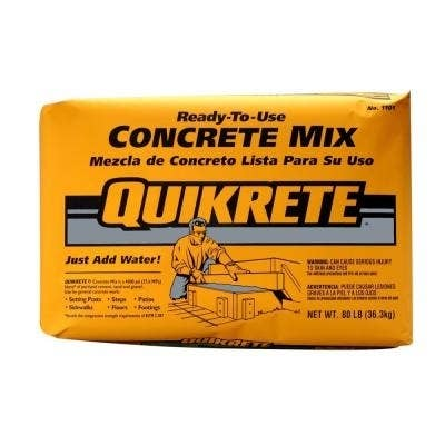 QUIKRETE® Concrete Mix in the yellow bag is a cheap versatile concrete mix that works well for these projects. The big advantage — other than price — is that it's easier to find in smaller 40- and 60-pound bags, which are easier to carry. If you're making small, intricate pieces, you can strain out the large pieces of gravel.