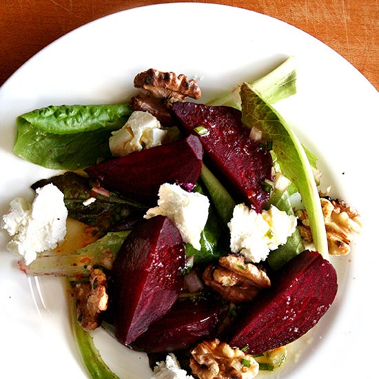 Salt Roasted Beets with Goat Cheese & Toasted Walnutes