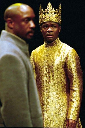 David Oyelowo, best-known for his recent role in The Butler, began his stage career at the RSC in 1999. His performance in the title role of Henry VI in 2000 made him the first black actor to play an English king in a major production of Shakespeare. Oyelowo later won the 2001 Ian Charleson Award for best performance by an actor under 30 in a classical play. Here he is as Henry VI in Henry VI Part III, directed by Michael Boyd.