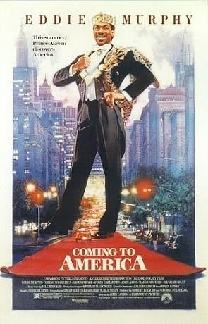 A young Eddie Murphy plays Akeem Joffer, a crown prince from the fictional African country of Zamunda. Arsenio Hall, James Earl Jones, John Amos, Cuba Gooding Jr., and Samuel L. Jackson also appear in this comedy classic.