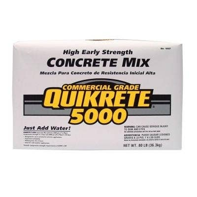 QUIKRETE® 5000 Concrete Mix is a commercial-grade blend of stone or gravel, sand, and cement and is specially designed for higher early strength. This is the recommended concrete mix to use because of the high early strength and low price. It's great for making tables, pavers, stools, and lamps and is typically found in 80-pound bags at Home Depot, but 60-pound bags are also available.