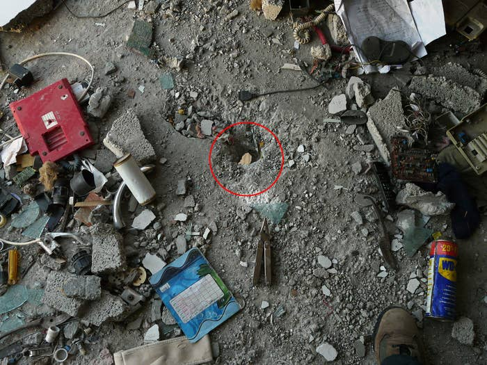 Suddenly, an antitank missile was fired at the house from an Israeli drone. It penetrated the roof, entered one of the rooms, and hit the floor, leaving a small hole. Three minutes later a bomb struck and destroyed the house. Six people were killed, all women and children.