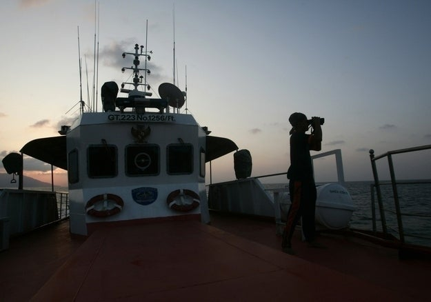 A member of a rescue team in the Strait of Malacca.