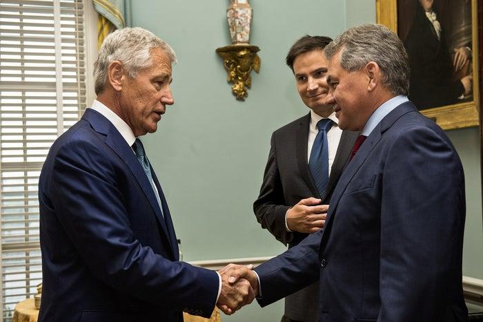 Hagel with Russan Defense Minister Sergei Shoigu.