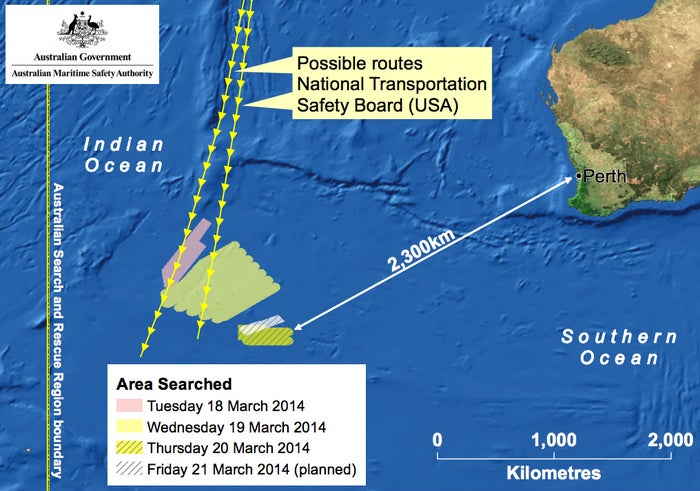 A map shows the area of the Indian Ocean authorities planned to search Friday, March 20.