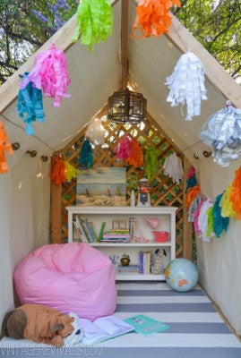 To really wow the kiddos, try your hand at constructing an Outdoor Reading Nook. Warning: excessive daydreaming may occur inside this enchanting space.