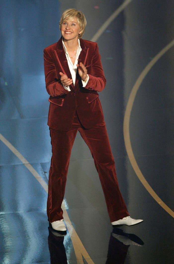 Even in red velvet, her suit look stands true.