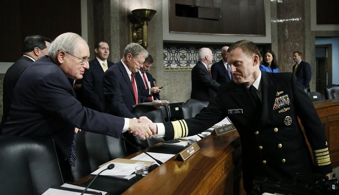 Vice Adm. Mike Rogers (right) meets with Senate Armed Services Committee Chief Sen. Carl Levin (left) ahead of Rogers' confirmation hearing March 11 to become the new head of the National Security Agency and U.S. Cyber Command.