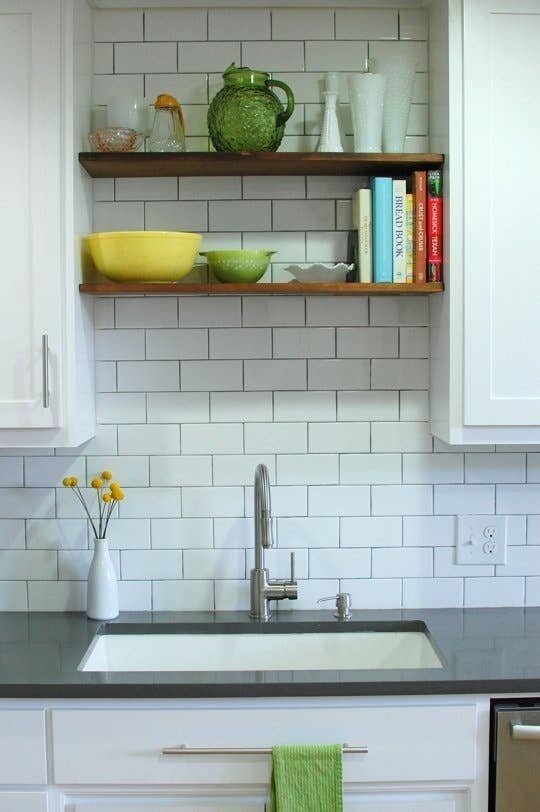 Take some cabinets down and replace with shelves.