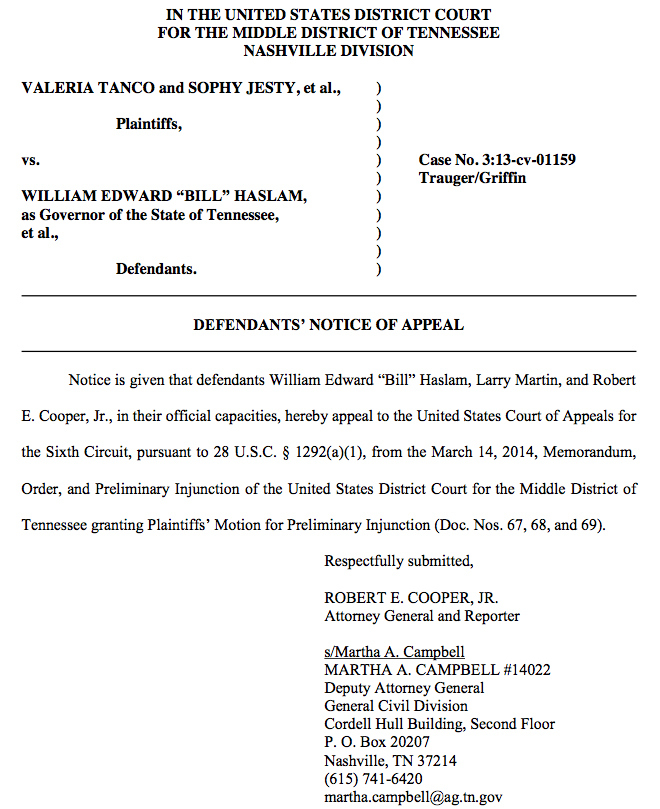 Tennessee, Kentucky Officials File Notices To Appeal Marriage Recognition Decisions