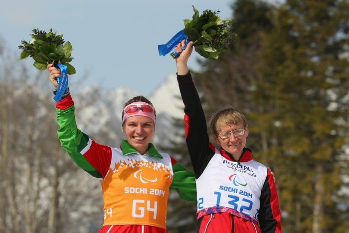 At age 45, the cross-country skier from Belarus still showed the world she has what it takes, picking up her eighth Paralympic medal. She won the bronze in the women's 15km visually impaired event.