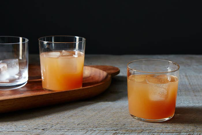 Grapefruit juice + gin + vermouth + lemon. Get the recipe.