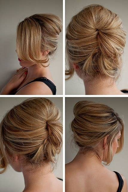 21 ridiculously easy hairstyles you can do with spin pins update the french twist by creating a tucked in beehive solutioingenieria Images