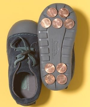 Gluing pennies is a way to improvise tap dancing shoes.