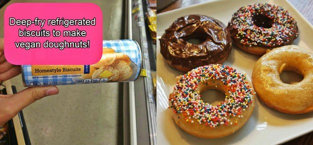 Some of Pillsbury's products are surprisingly vegan. Use their biscuit dough to make delish vegan donuts.