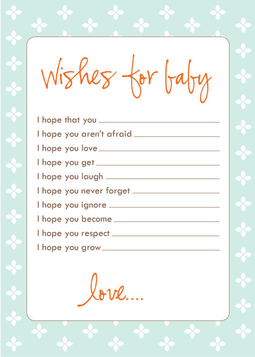 write down their wishes for baby check out this free printable