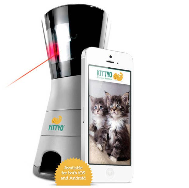 You can't spend every waking moment entertaining your cat. Or can you? Kittyo lets you play with your favorite fluffball from your phone.You can even dispense treats! On Kickstarter of course.