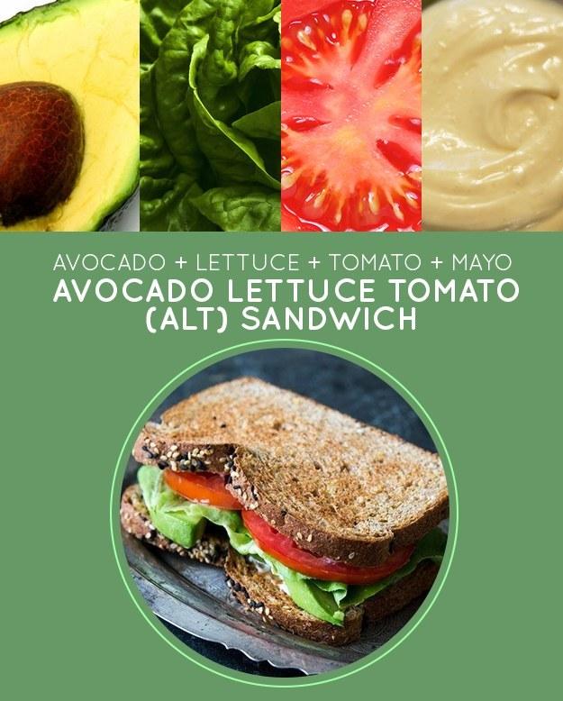 Avocado Lettuce Tomato (ALT) Sandwich
