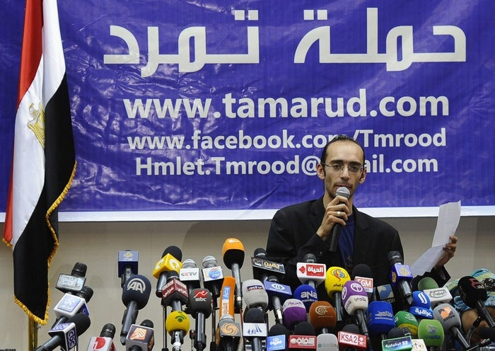 A Tamarod press conference in Cairo, May 29, 2013.
