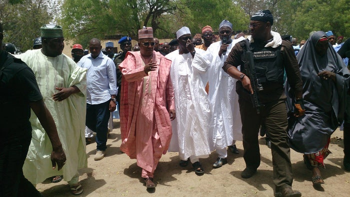 Borno state Gov. Kashim Shettima (center) visits Government Secondary School Chibok on Monday. More than 200 girls were abducted from the school by terrorist group Boko Haram nearly two weeks ago.