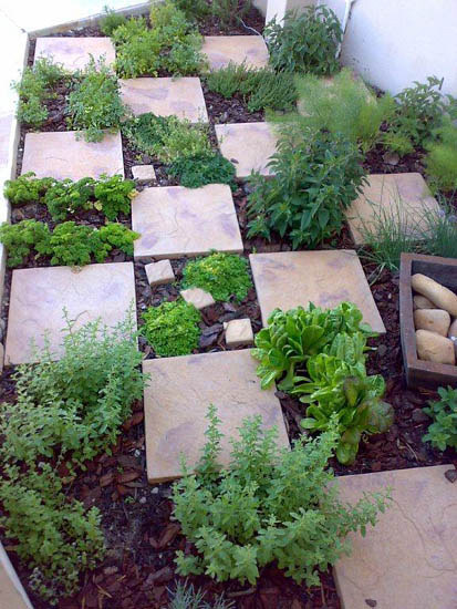 Stone Tiles In The Garden Create An Easy Walkway.