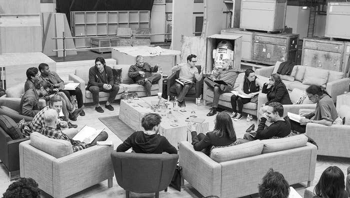 The new Star Wars cast at a script reading with director J.J. Abrams.