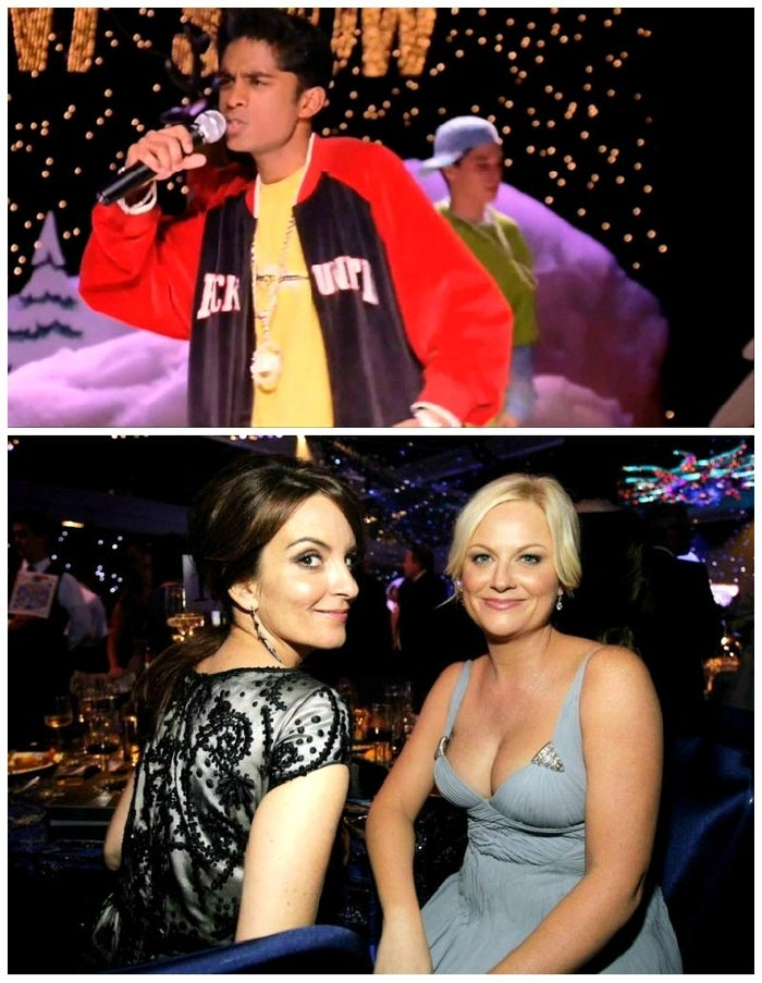 Tina Fey and Amy Poehler coached Rajiv Surendra on how to rap for his on-screen performance in the school's Winter Talent Show.