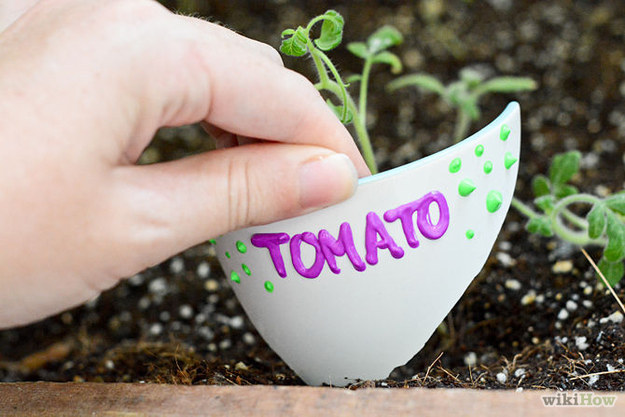 Give broken pots a new lease on life by turning them into plant markers.