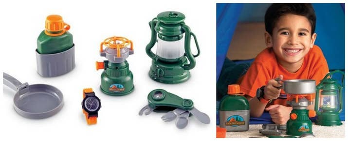 Give Your Kids A Play Version Of Dangerous Camping Equipment Like Burners And Swiss Army