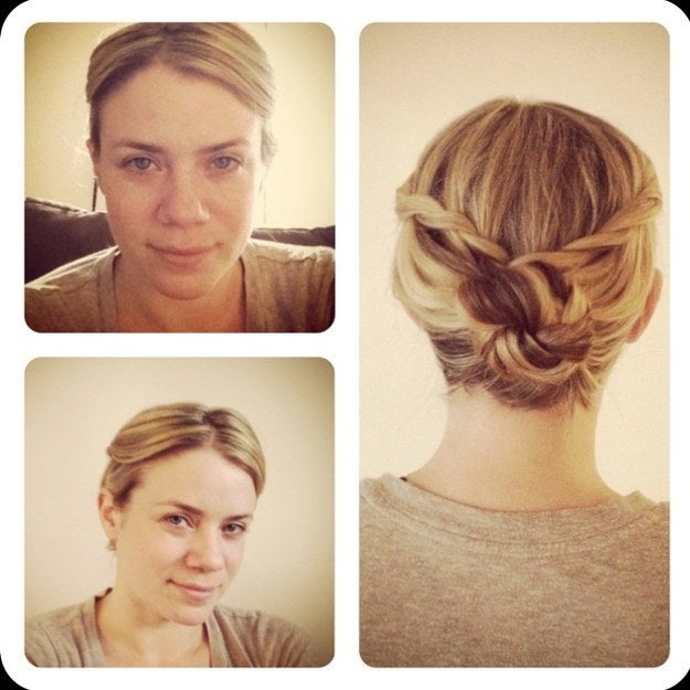 Waterfall braid each side, French braid a few rows and twist them into a bun. Secure with spin pins.