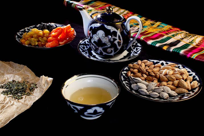 It's imperative to try Uzbek tea, which comes in a wide assortment of green, black, and herbal varieties, and is served with ceremonious care. You can also try a Bukharian Jew specialty called Chai Kaymoki - green tea mixed with milk and butter and sprinkled with almonds.