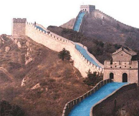 """A plan to turn a large section of the Great Wall of China into a giant waterslide was announced, on the simply-named A Luxury Travel Blog. As incredible as that would be, it does seem a little suspicious - the supposed tourism leader's name translates to """"April Fools' Day"""". Hmm..."""