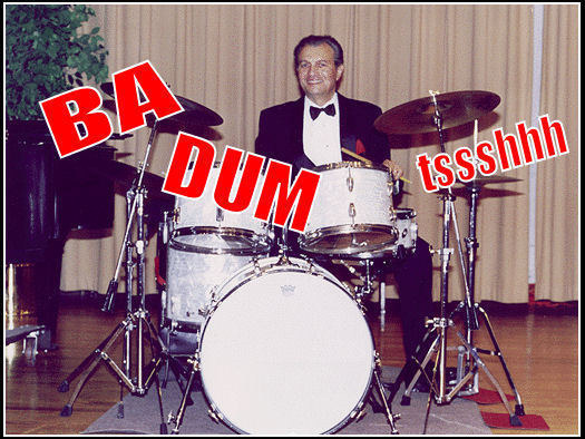 So two snare drums and a cymbal fall off a cliff...