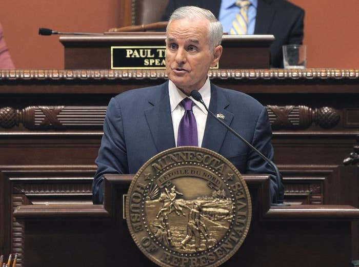 Minnesota Gov. Mark Dayton on April 30, 2014 delivers his State of the State address.
