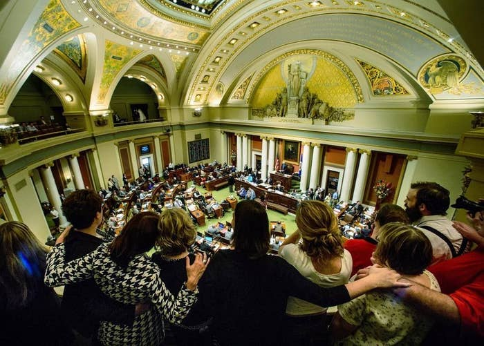 Medical marijuana advocates watch as the Minnesota House of Representatives vote on a bill that would legalize marijuana use for medical reasons at the Capitol in St. Paul, Minn. on May 9, 2014.