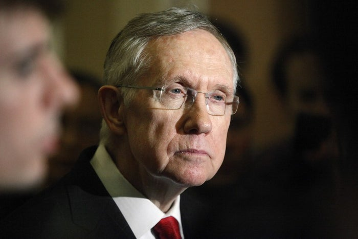 U.S. Senate Majority Leader Harry Reid (D-NV) answers questions from reporters after the weekly Republican caucus luncheon at the U.S. Capitol in Washington, March 11.