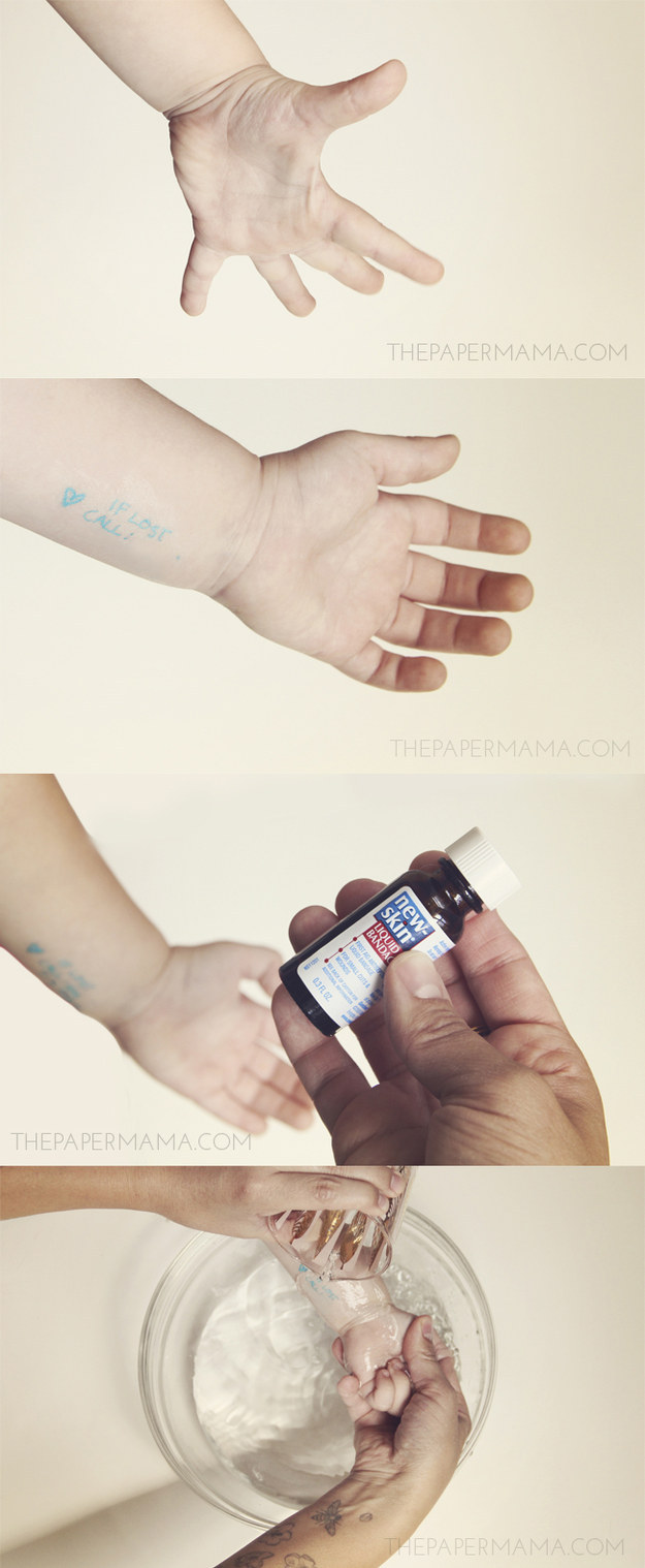 Liquid Bandage will seal in a temporary safety tattoo on your child.