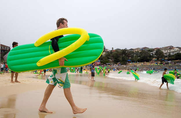 Head down to Bondi Beach with your inflatable flip-flop.