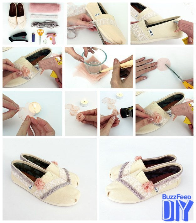 """These flirty feminine TOMS were created by Eileen from Yes Missy. Her tutorial will transform your everyday slip-ons into a fun and romantic pair of dress shoes you can wear to any special event.  Materials: pair of TOMS, lace, trimming, chiffon fabric, scissors, tea light, lighter, stapler, and glue gun.Measure and cut the lace. Take your lace and measure the amount you need by lining it up against your TOMS and snipping off any excess lace. Secure the lace with glue. With your glue gun, squeeze out a line of glue where your lace will go. Press your lace along the glue to secure it.Add trim. Measure out the needed amount of trim and attach it in the exact same way as your lace.Make an outline for your chiffon rosettes. Trace a 1.5""""-diameter circle on your chiffon fabric, and carefully cut out 8 chiffon circles. (And maybe a few extras just in case.) Cut out your petals. Cut five 1/3"""" slits into each of the chiffon circles.Shape your petals. Light your tea light and hold each chiffon circle about 1"""" away from the flame to slightly melt the edges, creating a petal effect. Do this with all 8 of your chiffon circles. Fold your petals into rosettes. Take 4 of your chiffon circles and stack them on top of each other. Then fold the stack in half to from a half circle, then fold it again to form a rosette.Secure your rosettes. Use your stapler to secure the shape of your rosette.Finish off your shoes. Attach your chiffon rosette to your shoes with a glue gun and you're ready to dance the night away!"""