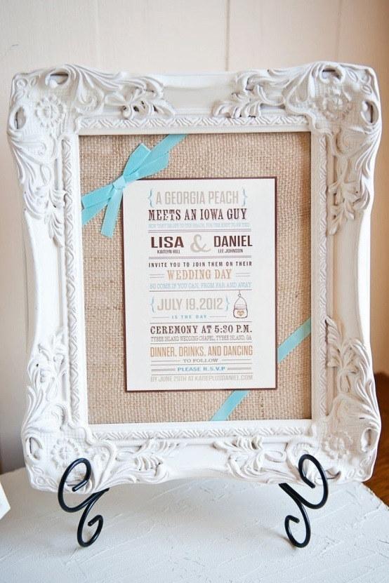 Frame their wedding invitation: