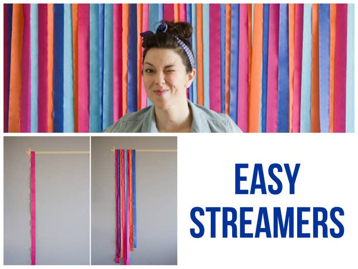 Making a striped backdrop is as simple as taping streamers to your wall.