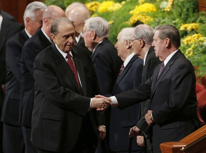 Church president Thomas S. Monson (left) at the semi-annual General Conference in Salt Lake City, Utah.