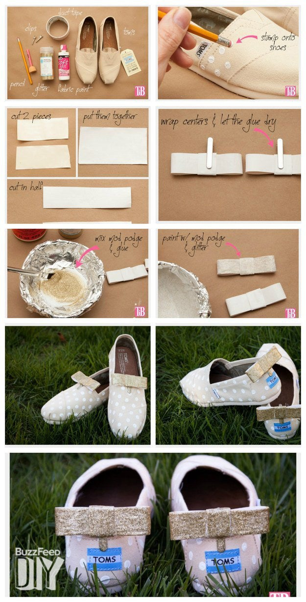 """These bow TOMS were created by Cathy from Trinkets in Bloom. Classic polka dots and detachable bow clips make them perfect comfy shoes for the bride. They'll also double as slip ons for your beach honeymoon, and the clips can be reused for other shoes or accessories. If you're making these for the whole wedding party, you could make gold or silver for the bride and use colored glitter for the bridesmaids and flower girl.Materials: pair of TOMS, white fabric paint, duct tape, shoe clips, glue, Mod Podge, glitter, pencil eraser, scissors, foil, and plate or bowl. Stamp your shoes. Pour a small amount of fabric paint onto a plate or bowl. Dip the end of your pencil eraser into the paint and stamp it all over both shoes.The dots on the pair shown are a little less than one inch apart. Cut two pieces of duct tape about 4"""" long each. Place one piece on top of the other, sticky sides together. Trim the ends to straighten them, and cut them in half the long way.Fold each piece of duct tape in half. Glue the ends together, then glue the two pieces together to form the bow.Cut another piece of duct tape about 3"""" long. Fold it in half the long way with the sticky sides together. Trim the ends. Wrap this piece of tape around the bow and glue to secure. Let the glue dry; you can use the shoe clips to hold the bows in place while they dry.In a foil-lined bowl, mix together Mod Podge and glitter. Paint your Mod Podge glue mixture over your bow. Let dry. As it dries, you may need to touch up the glitter.Glue the bows to the clips. Paint the ends of the clips with the glitter Mod Podge mix. Let dry.Attach the bows to your shoes. Since they're detachable, you can wear them in the front or the back, or even on the side."""