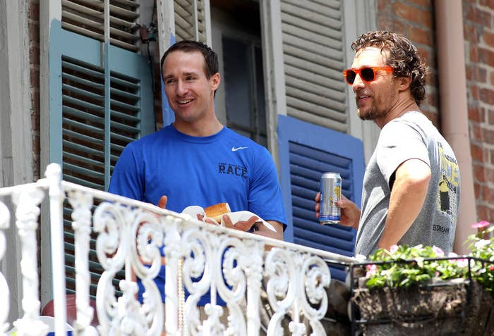 Brad Pitt Tosses A Beer To Matthew Mcconaughey Upon Realizing They