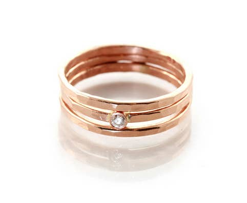 This 14k gold hammered ring set 65 Impossibly Beautiful Alternative Engagement Rings You ll Want  . Hippie Wedding Rings. Home Design Ideas