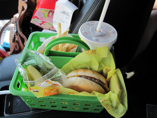 Dollar store shower caddies are great to have around for eating in the car.