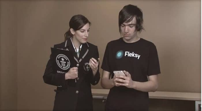 Marcel as he breaks the Guiness World Record for speed texting.